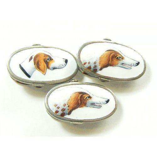 Three vintage clips enamelled dogs