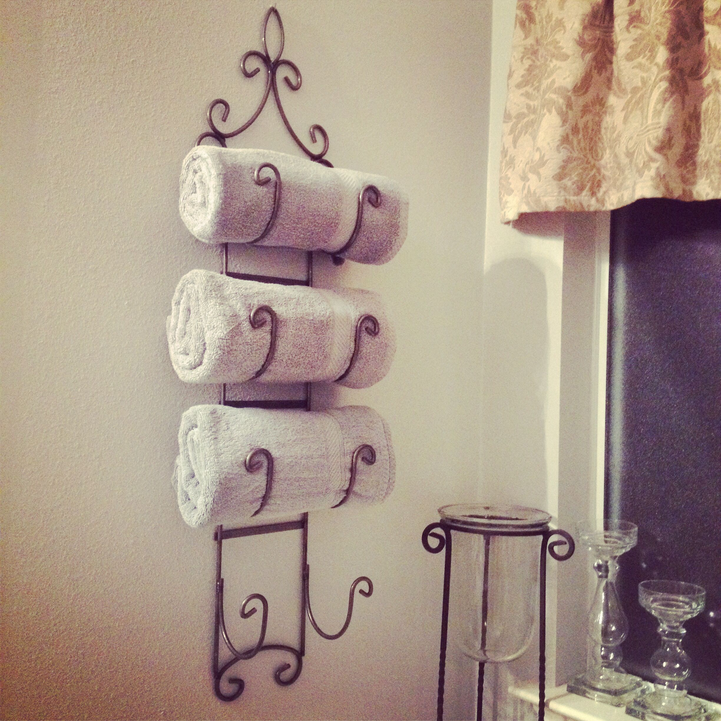 Wine rack towel holder - I have this exact rack in my ...