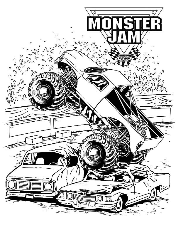 monster jam crushing cars coloring pages  color luna in