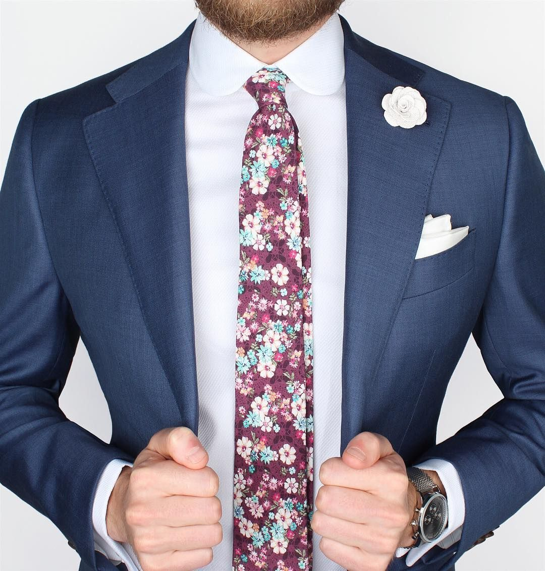 UK Mens Blue Floral Necktie and Pocket Square perfect for weddings