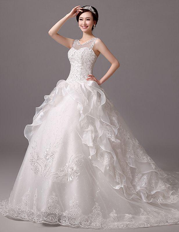 7e3fdd9368c0d ロマンティック ノースリーブ イリュージョン チャペル ボールガウン ウェディングドレス Htb0007