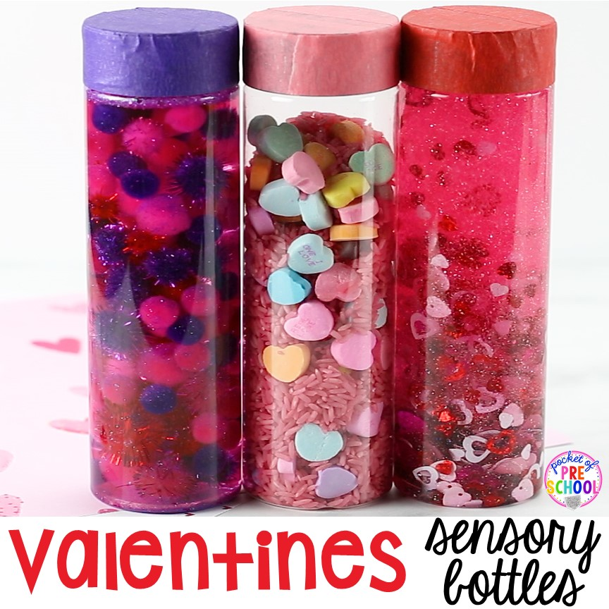 Valentines Sensory Bottles - Pocket of Preschool #sensorythings