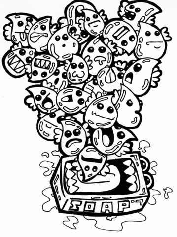 soap bubbles doodle coloring page