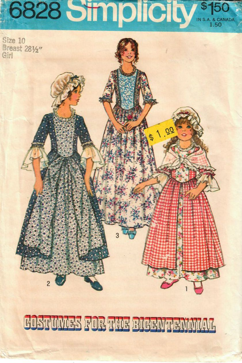 Hamilton costume for girls! In my #etsy shop: 1970s Simplicity 6828 UNCUT  Vintage