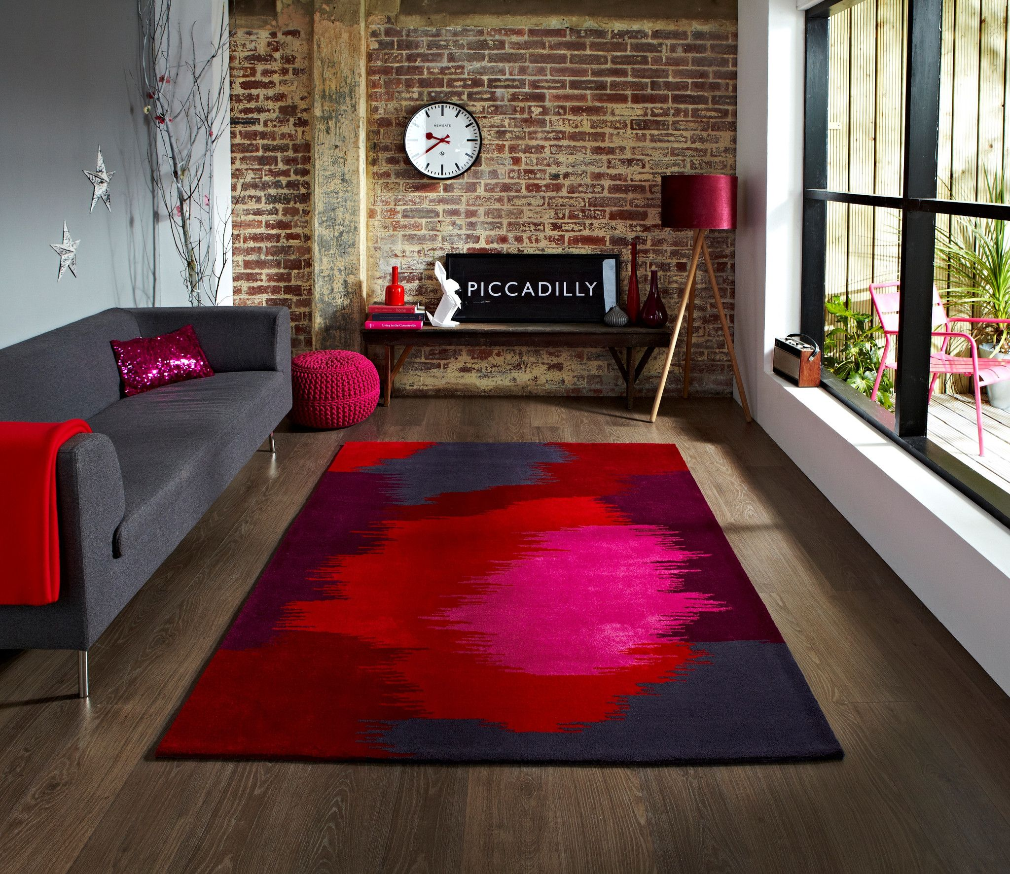 Colorful Purple Blue Pink And Red Area Rug Modern Rugs Grey