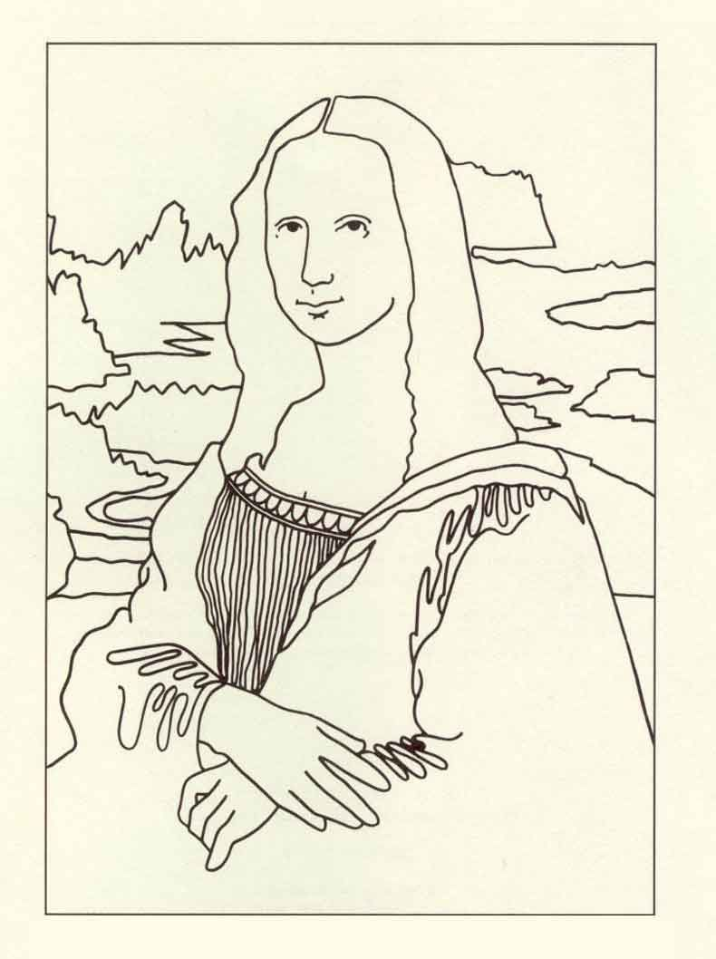 mona lisa coloring page to go with Papa Piccolo (med ...