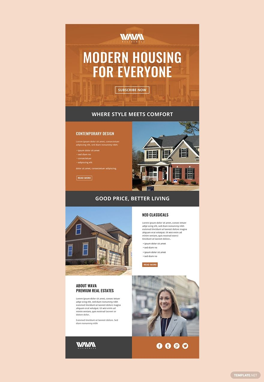 Free Real Estate Email Newsletter Template Ad Paid Estate Real Free Template Newslet Email Newsletter Template Email Templates Email Newsletters