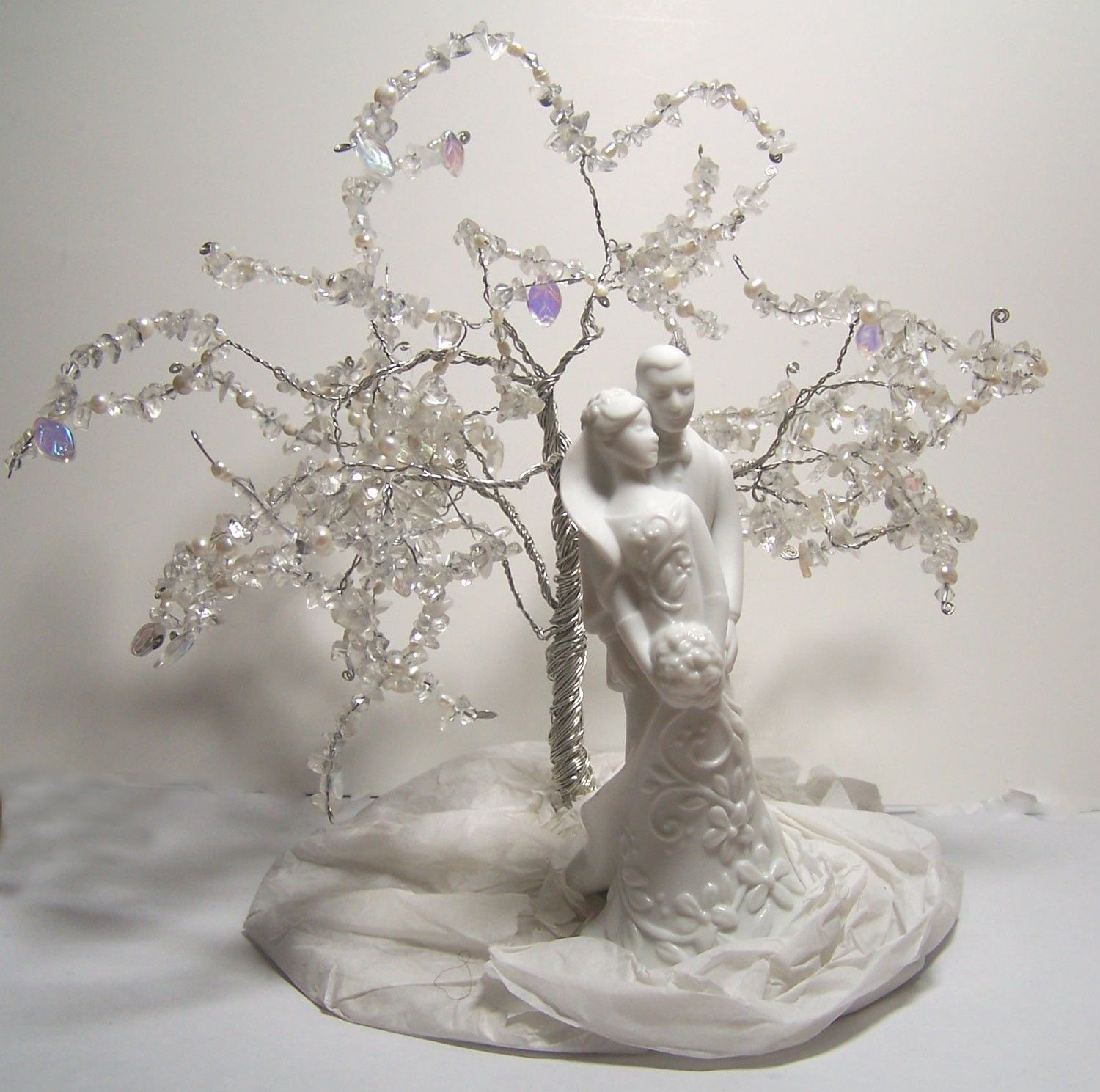 Wedding Cake Topper Tree Of Life Sculpture Modern Porcelain Figurine Winter