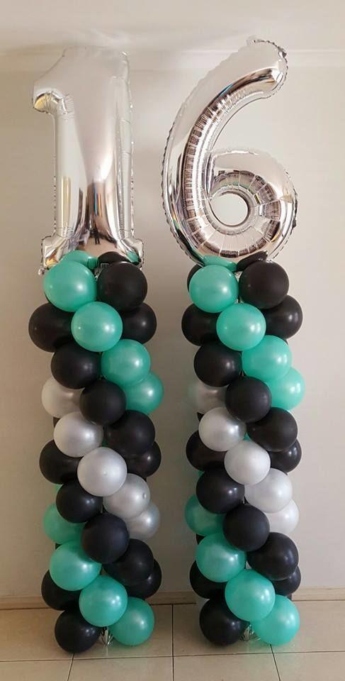 Türkis, Schwarz und Silber Sweet 16 Balloon Tower Inspiration #partyideas # sweet16 # ...  #b... #sweet16birthdayparty