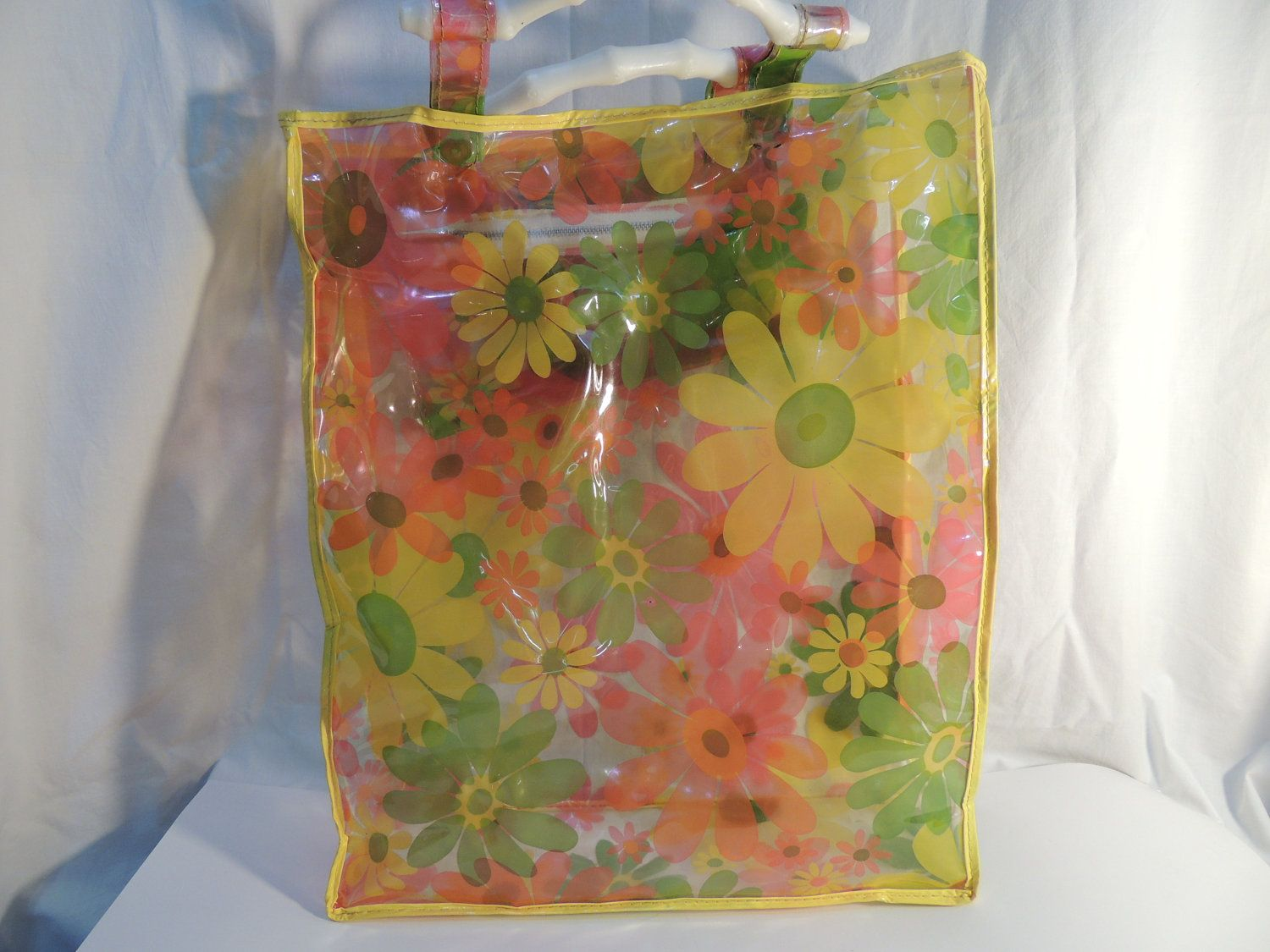 70s Green Blue and Purple Floral Clear Plastic Tote Bag | Blue and ...