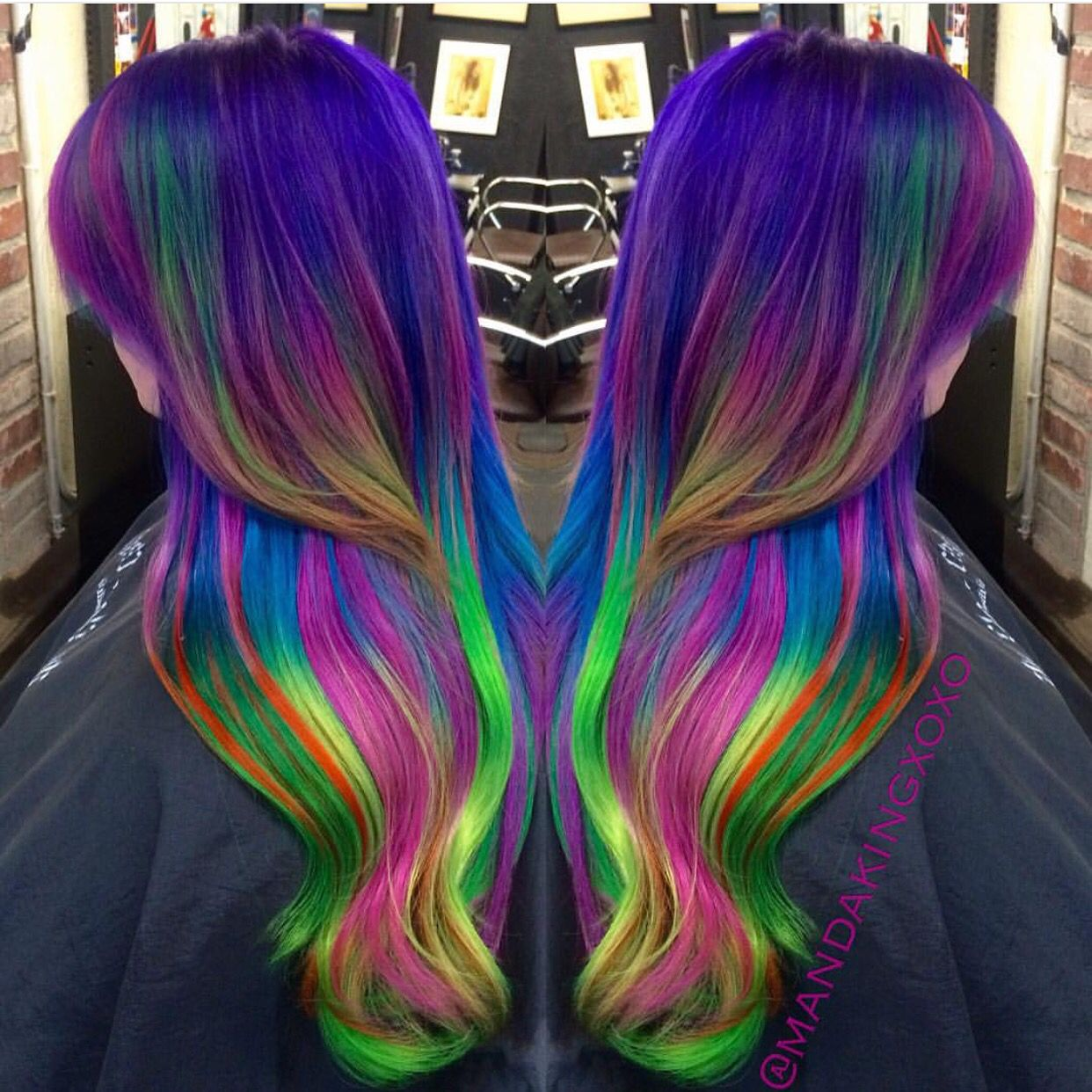 dramatic neon rainbow hair amanda