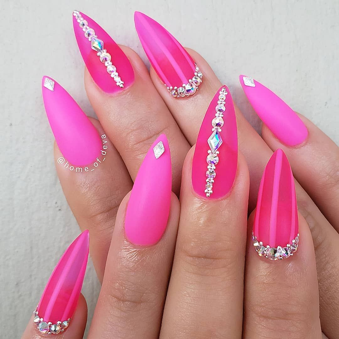 Hot Pink Nails For A Sunny Sunday Striper I Brush Schtik It Blinger Tool Premium Clear Acrylic Gel Pink Acrylic Nails Pink Nails Pink Stiletto Nails