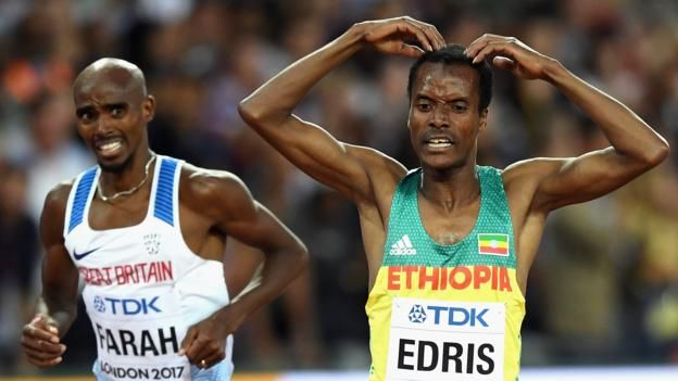 Britain's Mo Farah missed out on a fifth consecutive major championships distance double as he finished second in the world 5,000m.  The 34-year-old, who won 10,000m gold at the start of the championships, was swamped by his rivals in the final lap, with Ethiopia's Muktar Edris breaking clear to win gold.  Farah kicked again to take silver at the London Stadium in his final major track championships.