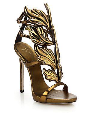 c47d54024ee Giuseppe Zanotti Metallic Leather Wing Sandals - Bronze - Size 11 ...