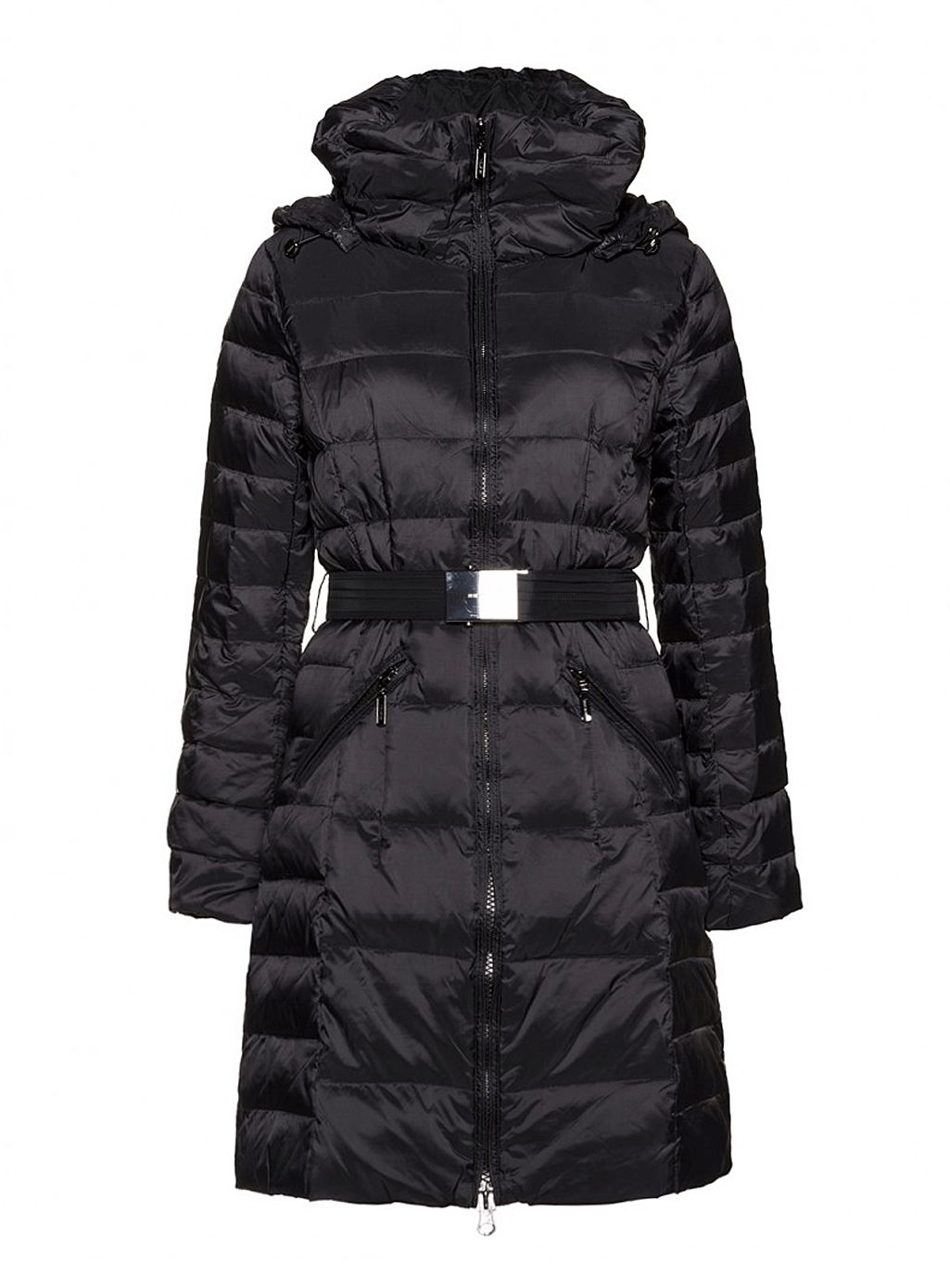 Benetton Classic Belted Puffer Coat in Black Long down