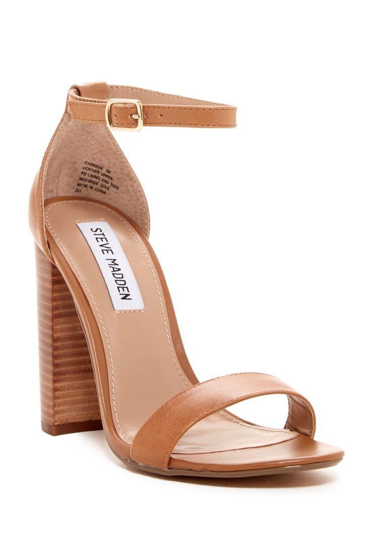 Steve Madden Carrson Leather Ankle Strap Block Heel Dress Sandals yxbhzO40E