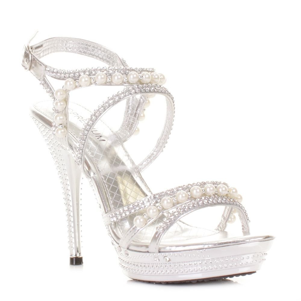 28d2c4d43a6 Silver wedding heels womens silver diamante wedding party pearl high heel  platform shoes jpg 1000x1000 Pearl