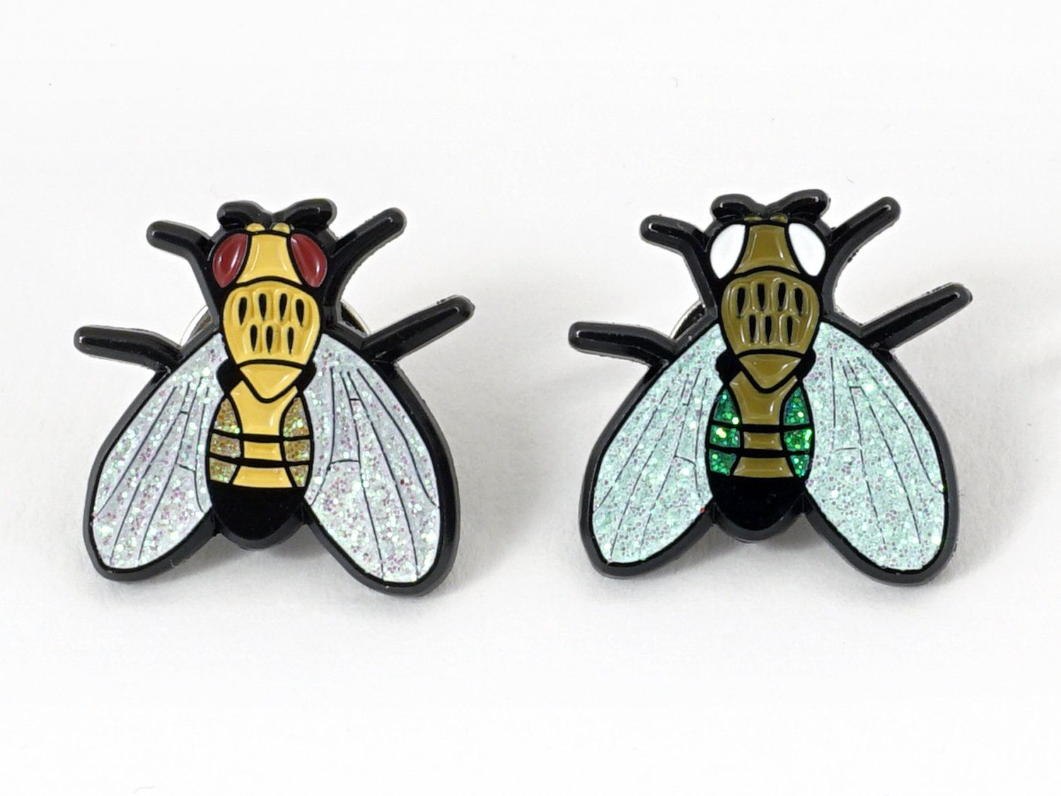 Fruit Fly Enamel Lapel Pin 2pc Glitter Set Drosophila