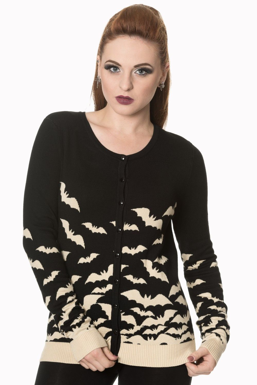 Flying bats Knit sweater Cardigan | Bats and Ivory