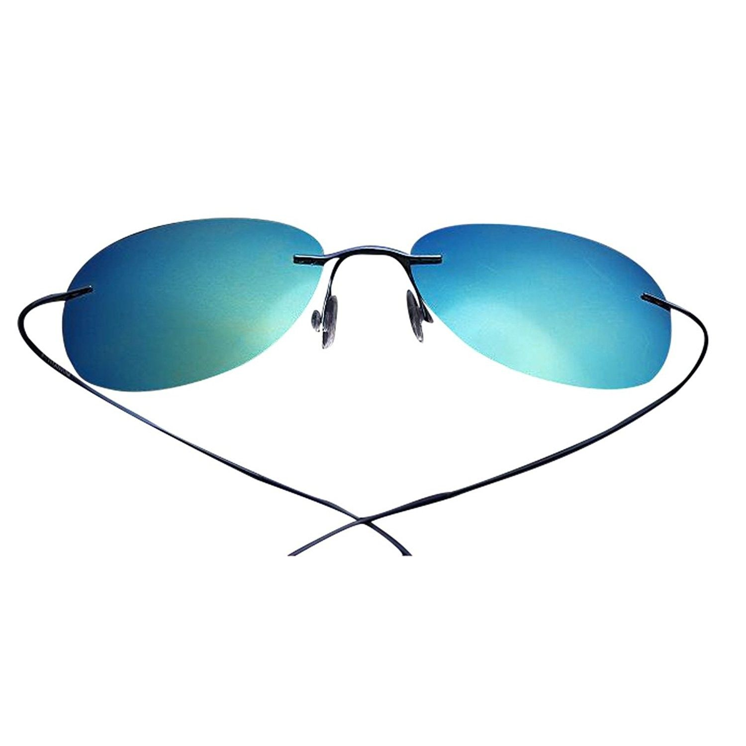 f11fb3127c7 Rimless Titanium UV400 Premium Polarized Sweatproof Anti-Static Sunglasses  - Blue Frame Blue Lens -