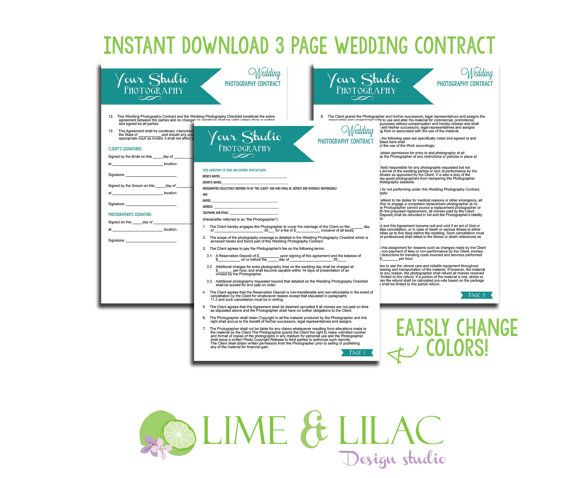 Wedding Photography Contract Template Set Business Forms Banner