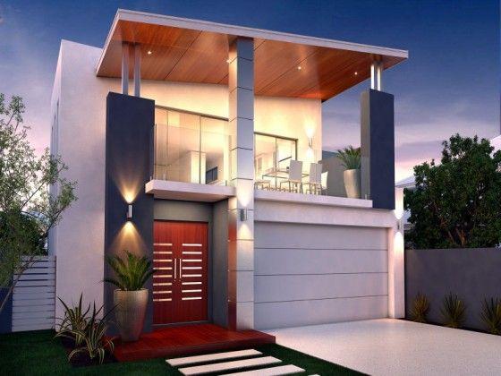Peque a casa de dos pisos des techos inclinados for Techos para casas de 2 pisos