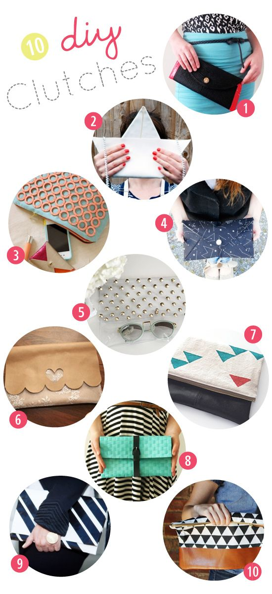 1. DIY table-mat and duct tape clutch/2. DIY paper boat clutch/3. Mod melts embellished clutch/4. Envelope clutch pattern/5. Studded clear clutch/6. DIY leather and lace clutch/7. (Faux...