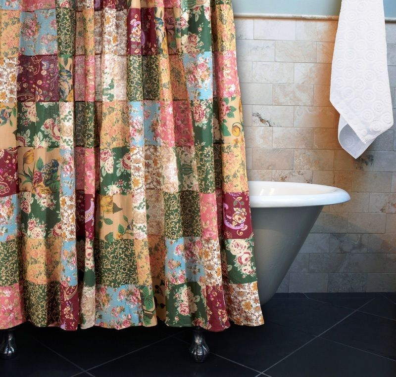 Details About Antique Country Patchwork Shower Curtain Blue Red