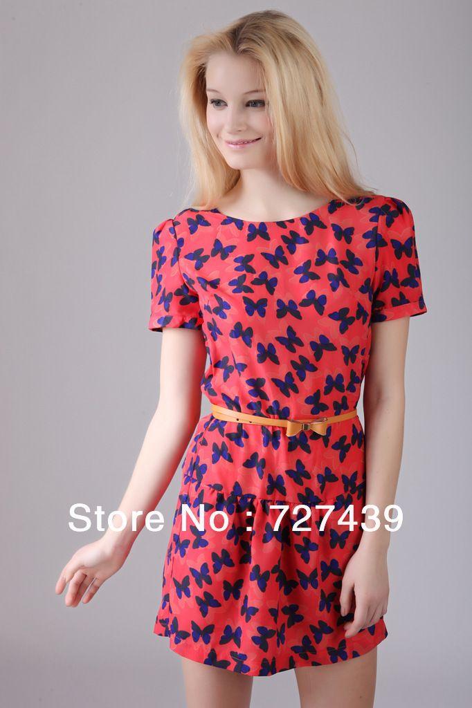 2013 Summer Fashion Red Dress Sweet Princess Sleeve Pleated Cheap