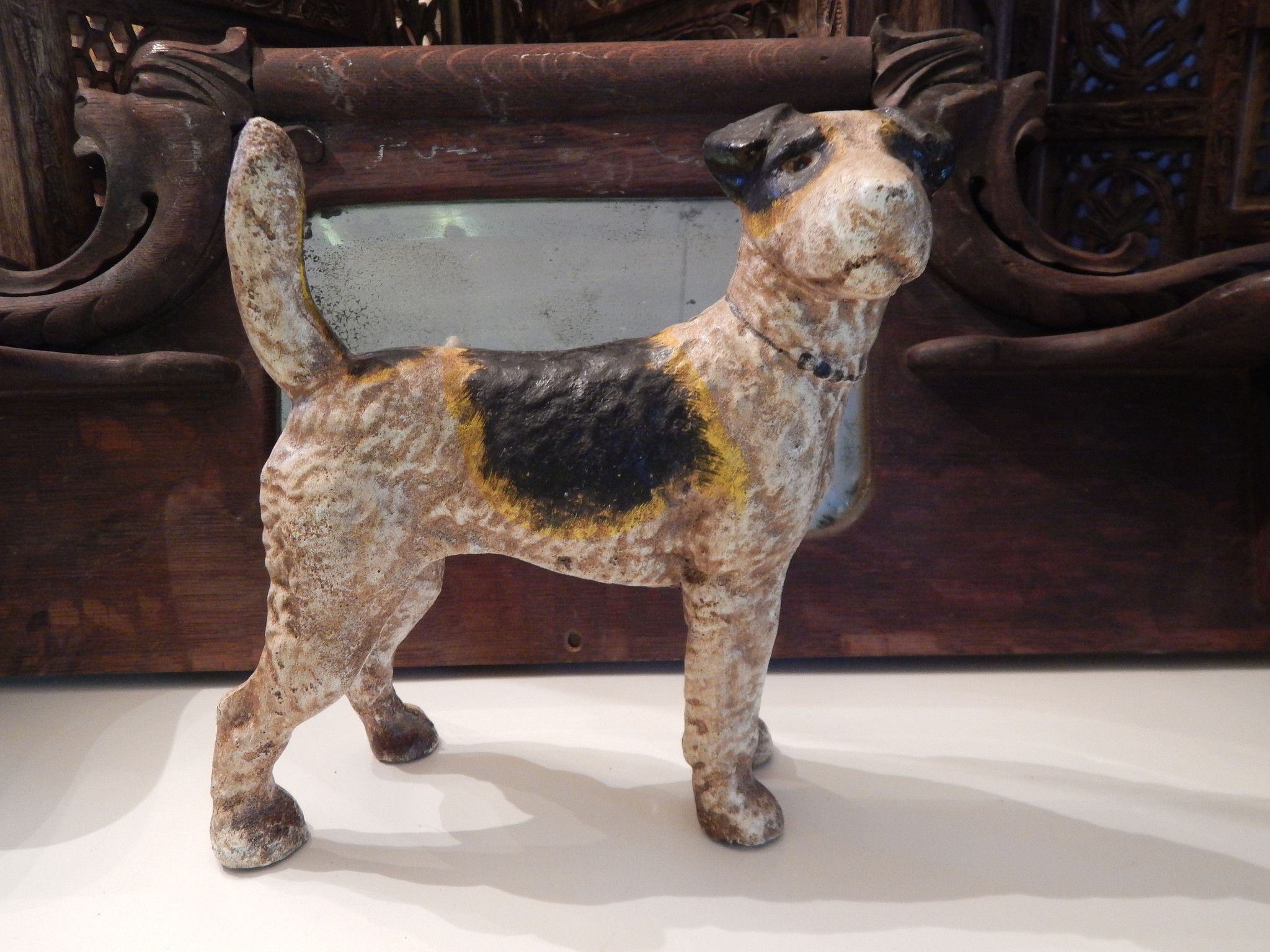 Vintage original hubley fox terrier 381 full figured large art statue - Antique Iron