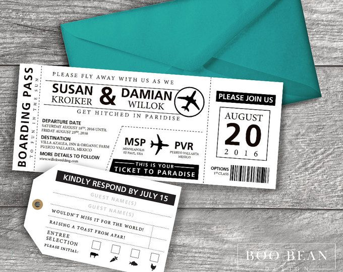 Destination Boarding Pass Invitation Printable Invitation - plane ticket invitation template