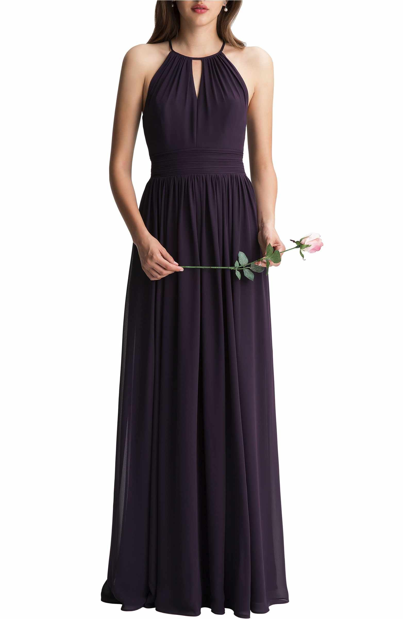 Keyhole chiffon aline gown gowns