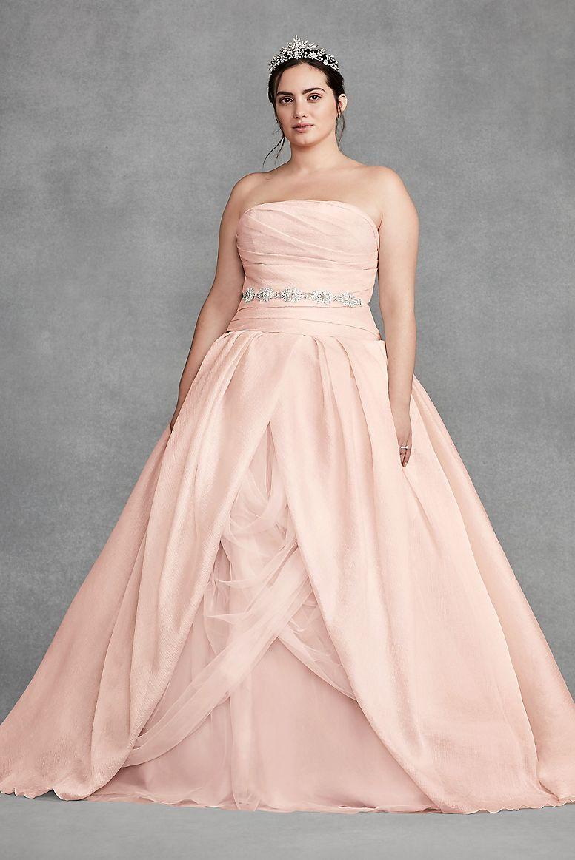 White By Vera Wang Organza Plus Size Wedding Dress David S Bridal Wedding Dress Organza Draped Wedding Dress Chic Wedding Dresses [ 1163 x 776 Pixel ]