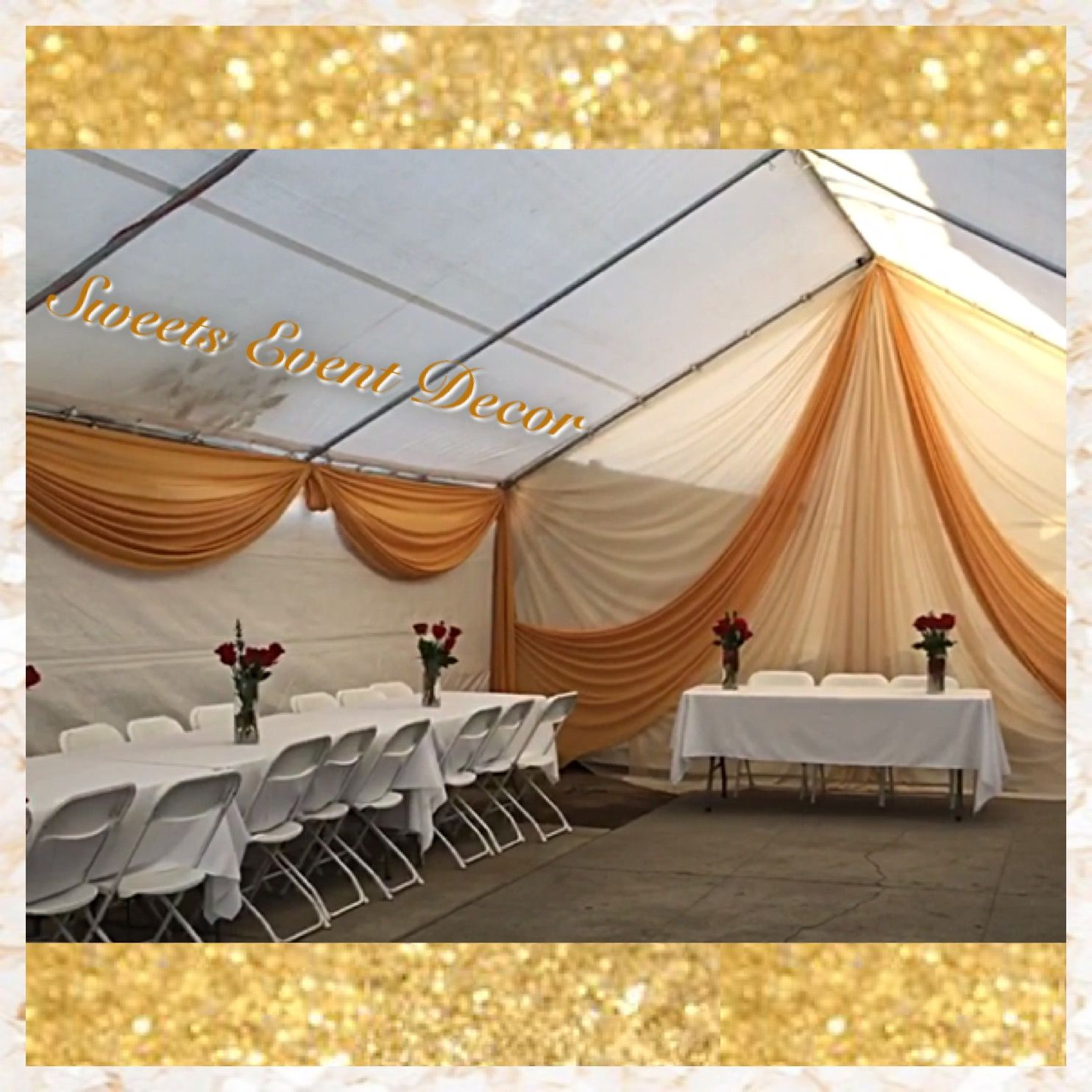 Gold Valance Tent Draping Decor by Sweets Event Decor & Gold Valance Tent Draping Decor by: Sweets Event Decor   Tent ...