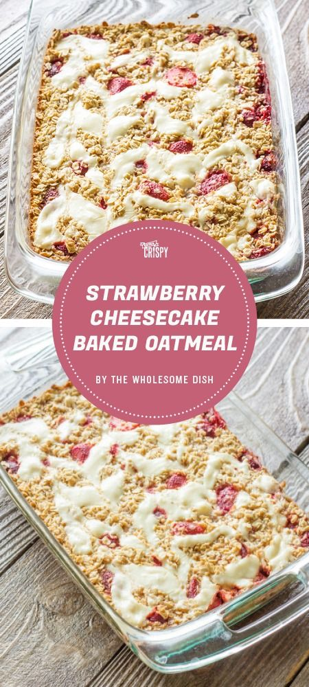 Who doesn't want to eat baked oatmeal for breakfast that tastes exactly like strawberry cheesecake, complete with a beautiful cheesecake swirl on top? This recipe from The Wholesome Dish definitely lets you indulge your sweet tooth first thing in the morning.