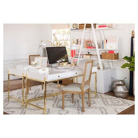 Sugar Paper Writing Desk White With Gold Hardware Target