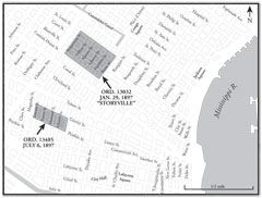 Map showing the two prostitution districts created in New Orleans in 1897. The larger Storyville district was created by Ordinance 13032 on January 29, 1897, and a smaller district was created by Ordinance 13485 on July 6, 1897. Note: Custom House Street, which formed Storyville's southwestern boundary, was renamed Iberville Street in 1901.