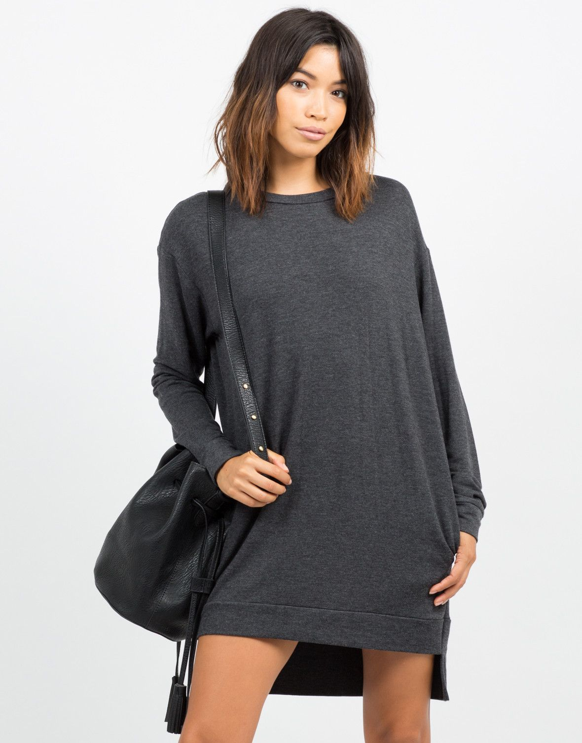 Oversized Long Sleeve Sweater Dress | Long sleeve turtleneck, Knee ...