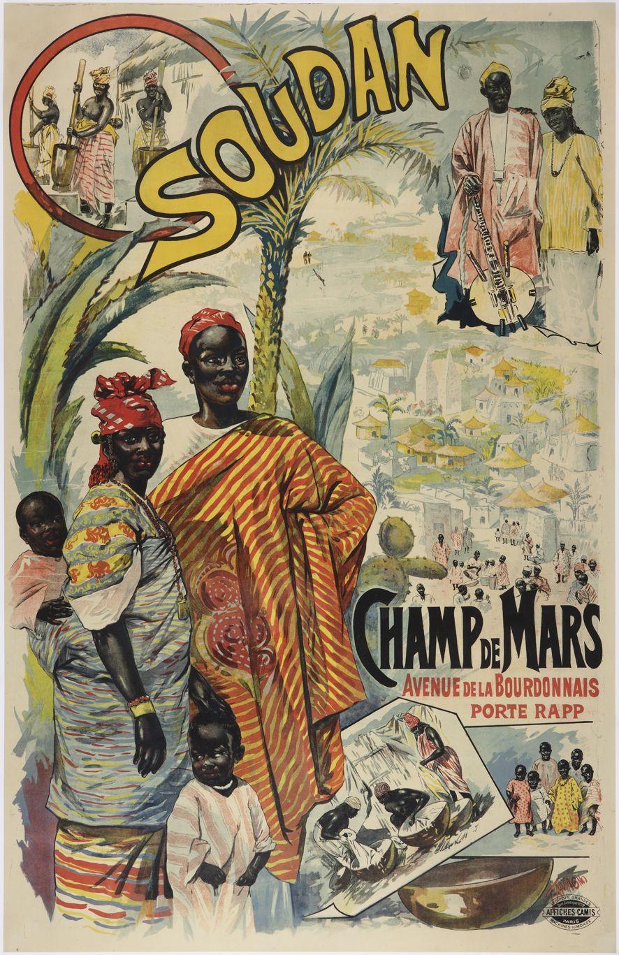 Affiche de l 39 exposition coloniale de 1895 sur le champ de for Expo paris mars