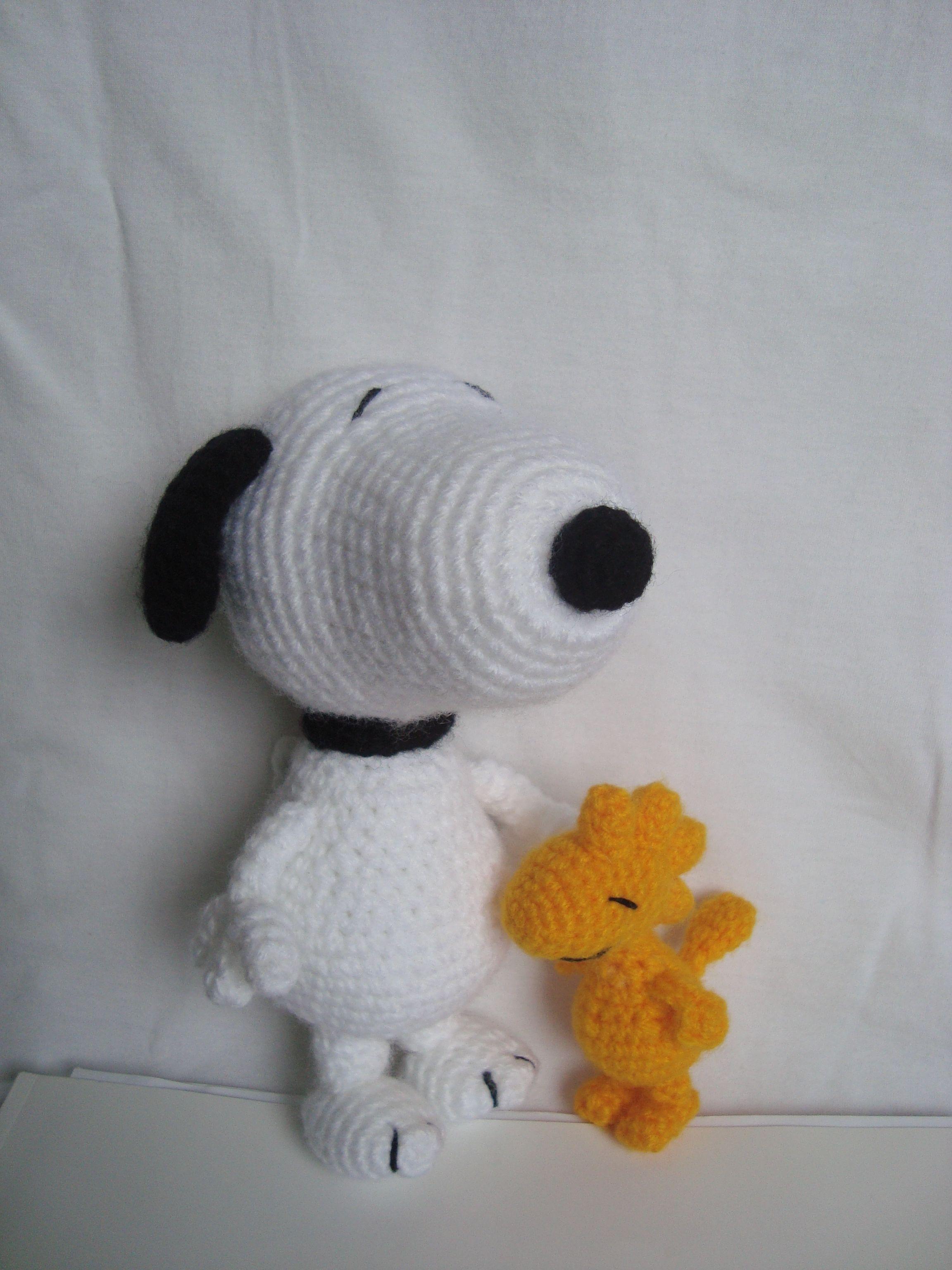 Snoopy e Woodstock em crochê! facebook.com/lhamaquetrama