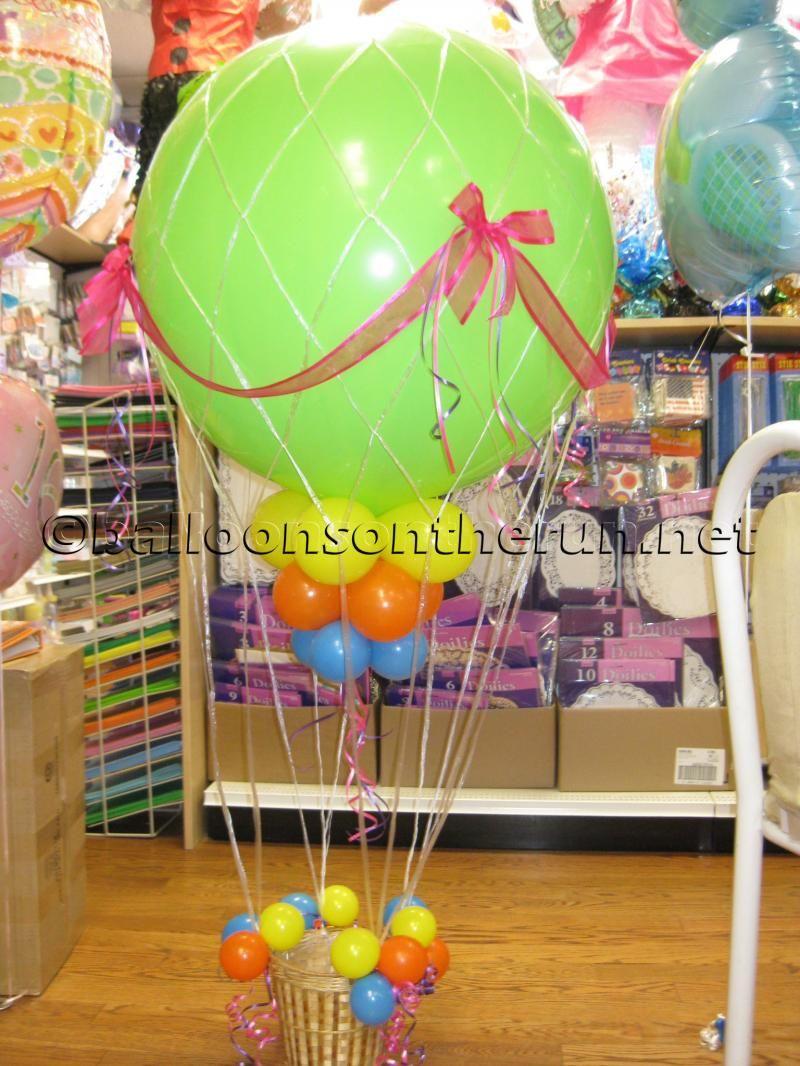 Hot air balloon hot air balloon birthday party for Balloon nets for centerpieces