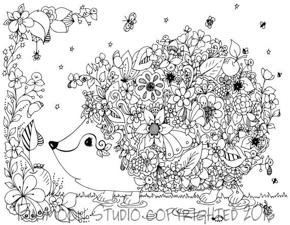 Hedgehog in Garden Coloring Page, Printable Coloring Pages, Adult ...