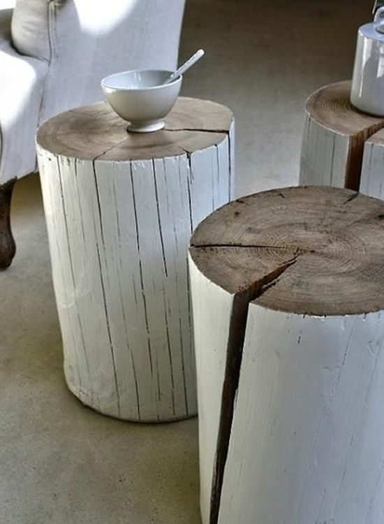 Exceptionnel Rustic White Painted Log Side Tables