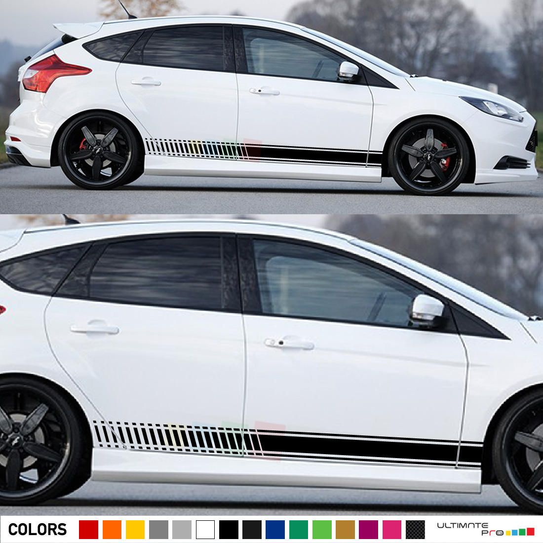 2x Decal Sticker Vinyl Side Racing Stripes Compatible With Ford Focus 4 Doors Rs St 2010 2016 With Images Ford Focus Volkswagen Phaeton Racing Stripes