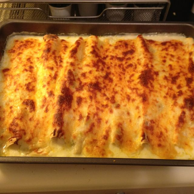 My try on white chicken, chile and cheese enchiladas.