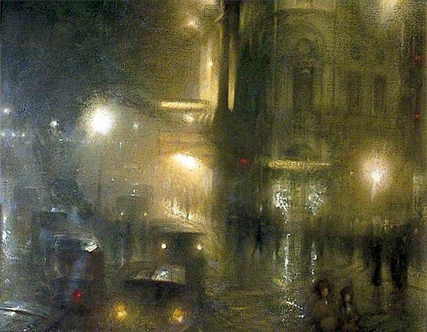 Flare and Flutter: Piccadilly Circus at Night  (Arthur Hacker, 1912)