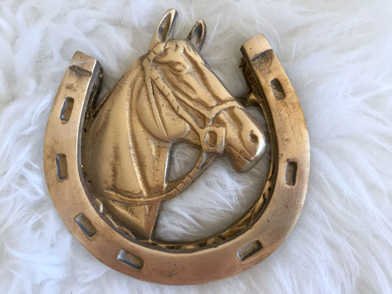 Brass Horse Door Knocker Equestrian Brass Horseshoe Knocker