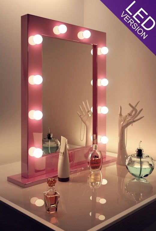 Pink Hollywood Makeup Mirror Theatre Style Backstage Make Up