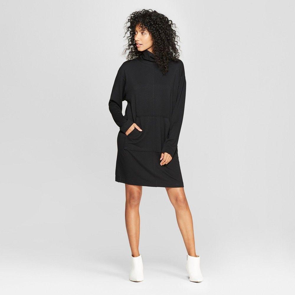 8aed31701 Women's Long Sleeve Mock Neck Sweatshirt Dress - Prologue Black XS ...