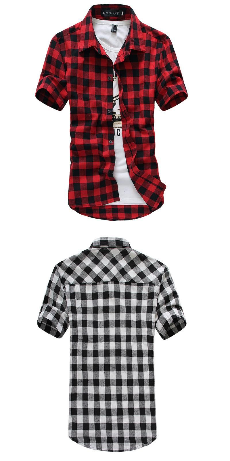 fd83889a54d Red And Black Plaid Shirt Men Shirts 2016 New Summer Fashion Chemise Homme  Mens Checkered Shirts